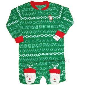 Santa Christmas Pajamas Boys Girls Footie Fleece